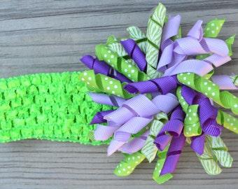 Purple and lime zebra print korker bow and lime headband