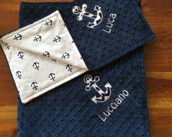 Nautical Anchor Baby Blanket Set, Minky Anchor Baby Blanket, Minky Anchor Lovey Set, Navy Anchors, Navy Minky, Personalized Blanket