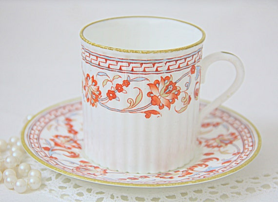 Rare Antique Wedgwood Bone China Demitasse Cup and Saucer, England