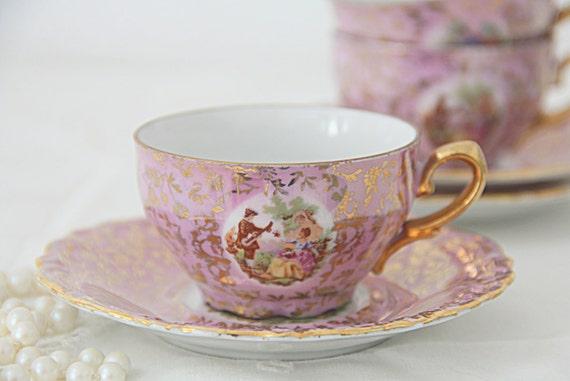 Lovely Set of Four Vintage Pink Demitasse Cup and Saucers, Fragonard Scene, Gold Decor, Porcelaine de Luxe A.D.P., France