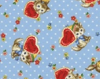 Pocket Kittens - Valentine Kittens on Blue Dot Background by the Half Yard