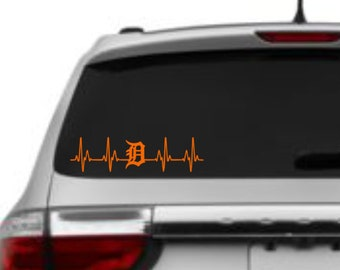 Michigan Detroit Old English D Heartbeat Vinyl Car Decal 2 inches x 7.5 inches *FREE SHIPPING*