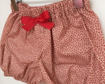Baby bloomers shorts elastic red foliage vintage