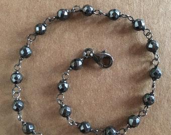Burnished silver Rosary bracelet