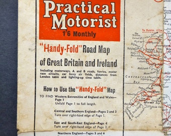 Vintage Map - Practical Motorist 'Handy-Fold' Road map of Great Britain and Ireland 1962