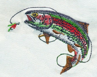 Trout Fish and Fly Fishing Fly Outdoor Sports Embroidery Design - Instant Digital Download