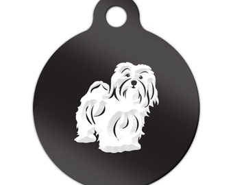 Havanese Engraved Round Key Chain Dog Tag blanquito - MRD-350