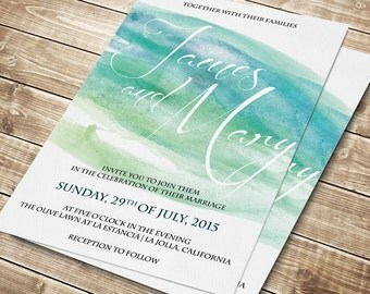 Items similar to Printable Watercolor Wedding Invitation Template ...