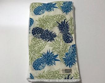 Burp Cloth, Spit Up Rag, Hawaiian Pineapples, Blue