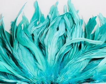"Light Turquoise 8"" - 10"" strung coque rooster tail feathers"