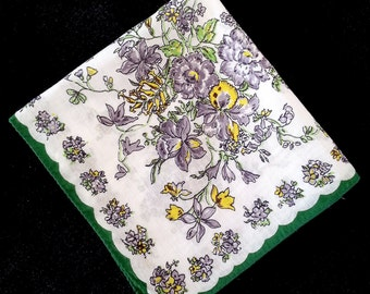 Vintage Floral Handkerchief Of Purples, Yellows, And Greens.  Hand Rolled Edges.