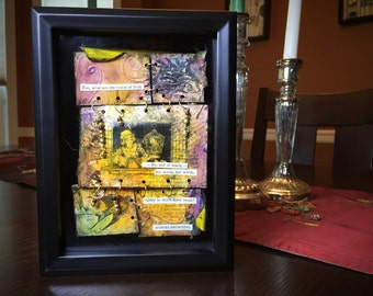Vintage Art Shadowbox with Robert Browning Quote, Browning Shadowbox Art, Robert Browning Shadowbox Assemblage