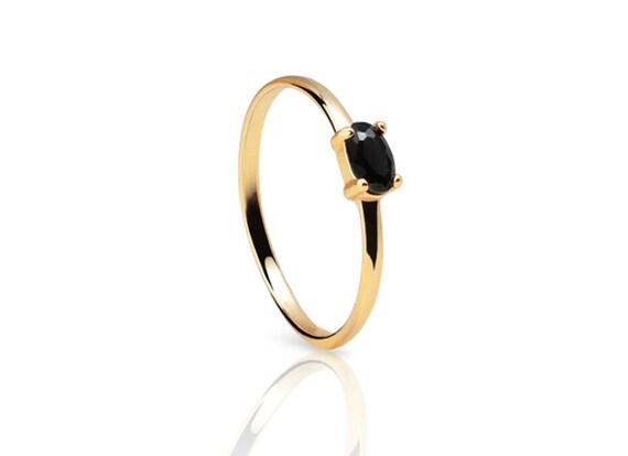 black stone gold ring - photo #12