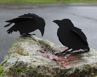 Crow Sculpture, Iron Baby Ravens Sculpture, Baby Crow, Baby Bird, Raven, Crow, Garden Sculpture, Garden Ornament, Little Bird, Garden Statue