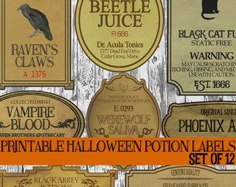 DIY Halloween Potion Label Printables, Apothecary Labels, Halloween Bottle Labels, Digital Clip Art Graphics, Witch Scrapbook Embellishments
