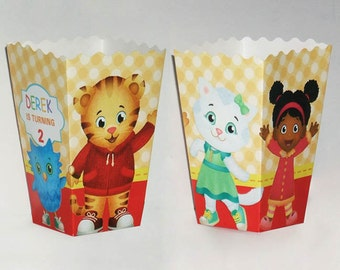 Daniel Tiger's Neighborhood Birthday party popcorn Favor Boxes (Set of 10)