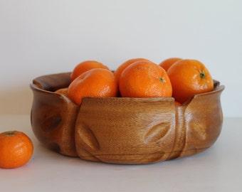 Mid Century Teak Large Teak Salad Bowl Carved Wooden Bowl