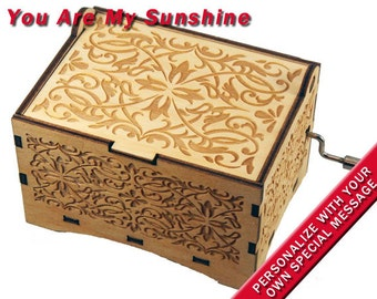 "Jewelry Music Box, ""You Are My Sunshine"", Laser Engraved Wood Hand Crank Music Box"