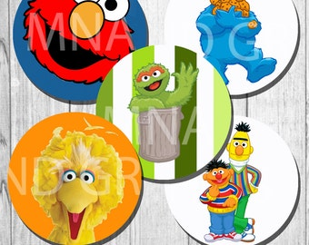 SESAME STREET Cupcake Topper birthday party decoration - sesame street toppers 2 inch INSTANT download - printable