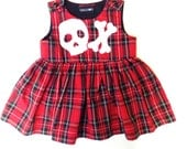 Skeletots tartan dress with skull  bones baby girl goth rockabilly ages 024m