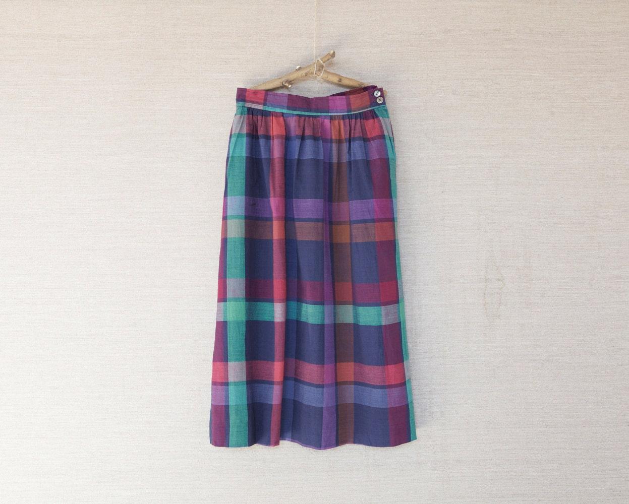 tartan skirt plaid blue skirt cotton skirt by houseofoak