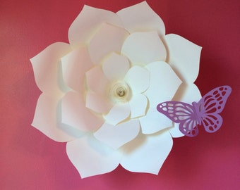 Large Paper flower with paper butterfly, kids room decor, wedding venue decor papers bloom
