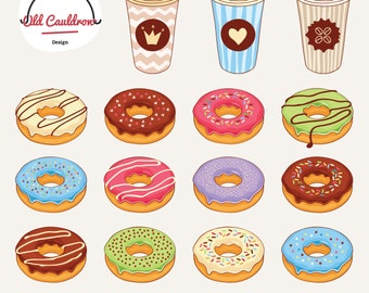 Donuts and Coffee clipart commercial use, digital images, vector clipart, vector graphics CL031