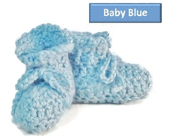 Crochet Baby Booties,  blue, periwinkle, white and purple, handmade shoes, Newborn, 0-3 months, Unisex Kids Shoes, Booties & Crib shoe
