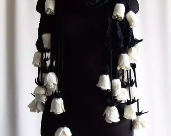 Black and Cream White Nuno felted wrap with felted roses. Black silk merino wool wrap scarf with wool felted cream roses.