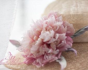 Large silk Peony brooch 13cm, pink silk peony, hat, dress or hair accessories. Handmade silk flowers. Statement Flower Headpiece A
