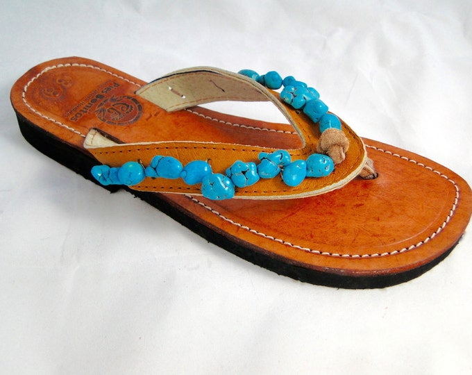 Beaded Leather Womens Sandals Flip Flops