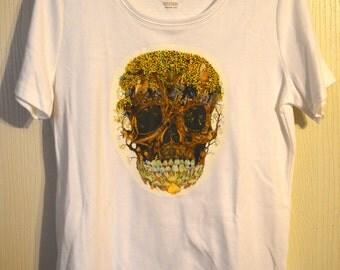 Boho Indie Skull T-Shirt Women's Size Medium