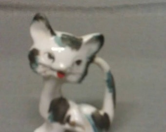 White Cat with Grey and Turquoise Spots with Red Lips Figurine