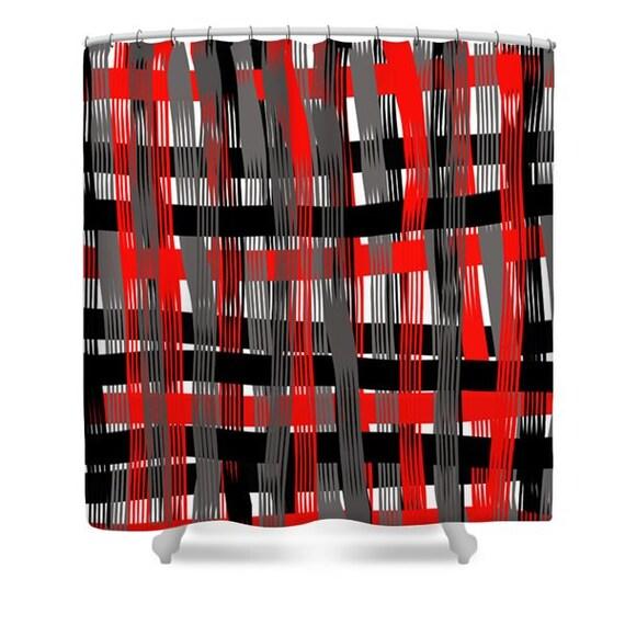 Plaid Shower Curtain,Red White Black Gray Plaid,Bathroom Curtain ...