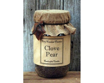 Primitive Candle, Country Candle, Rustic Candle, Clove Pear Scented Jar Candle