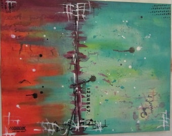 Original Abstract Mixed Media Canvas - 16 x 20