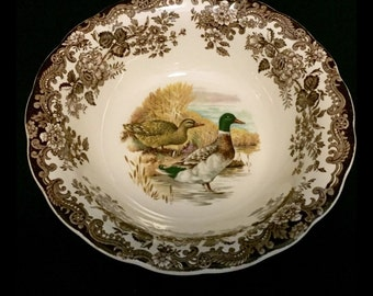 """FREE SHIPPING-The Royal Worcester Group-Palissy-England-Est. 1853-Game Series-Birds-Duck-9 3/4""""-Serving Bowl"""