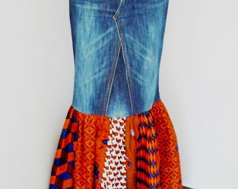 Veronica Orange and Blue African Wax and Denim Maxi Skirt, Long Skirt, Dashiki Skirt