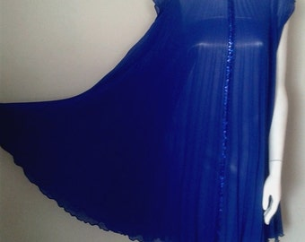Embellished Cobalt Blue Chiffon Pleated Swing Dress – Made to Order
