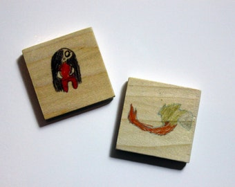 Set of 3 Artwork Magnets - Your favorite child's drawings on wooden magnets!