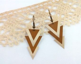 "Earrings ""triangle"" gold and copper color made from coffee capsule upcycled"