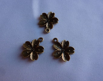 20mm Antique Bronze Cherry Blossom/Flower/Sakura Charms (set of 3)