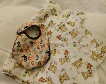 BABY 4 pc GIFT SET -- receiving blanket, 2 burp cloths, bib