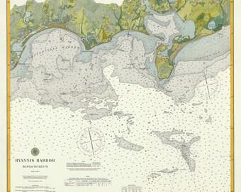 Hyannis Harbor Nautical Chart 1896