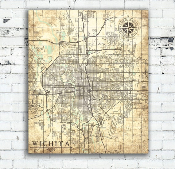 Wichita canvas print kansas ks vintage map by natalyborichart for Craft stores wichita ks