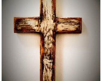 "12"" Wall Cross, Wood Cross, Age Distressed Cross, Christian Cross, Christian Decor"