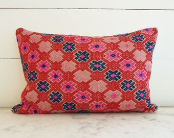 Magenta Pink Red Blue Geometric Antique Vintage Chinese Miao Embroidered Lumbar Pillow Cover 12x18