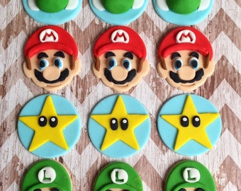 12 Fondant super Mario cupcake toppers