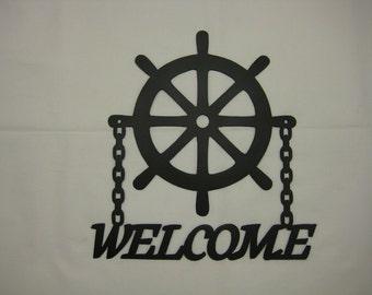 Ships Wheel Welcome Sign Nautical Decor