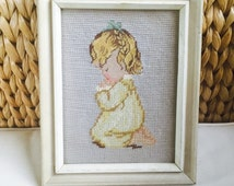 Vintage Nursery Decor Wall Art, Little Girl Praying, Nursery Art, Girls Room, Wall Art for Kids Room, Wall Hanging, Vintage Decor